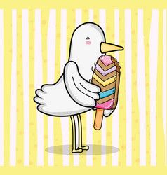 cute bird cartoon with popsicle vector image