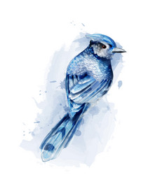 cute blue bird watercolor isolated on white vector image