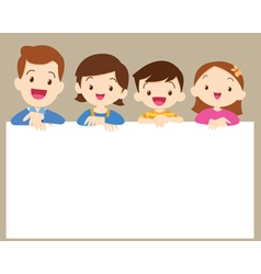 Cute family post smile with white frame vector image