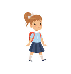 Cute girl walkling with backpack pupil in school vector
