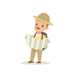 Cute little boy in scout costume with backpack vector