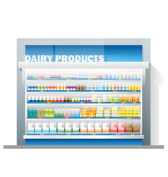 Dairy products display on shelf in supermarket vector
