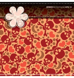 Decorative card with hearts and skulls vector image