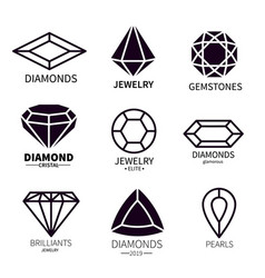 diamond logos jewels diamonds gems jewelry vector image