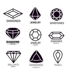 diamond logos jewels diamonds gems jewelry vector image