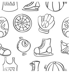 Doodle of sport equipment various pattern vector