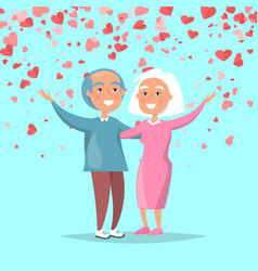 elderly couple send merry greetings valentines day vector image