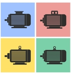 Electric motor icon set vector