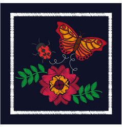 Embroidery flower and butterfly ladybug ornament vector