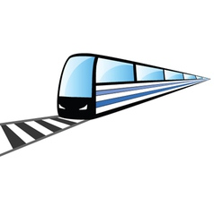 Fast train on the rails vector