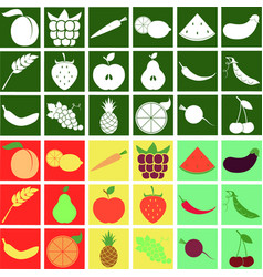 fruit and vegetables stylized vegetarian icon set vector image