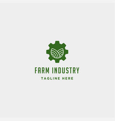 gear farm logo nature industry symbol signs icon vector image