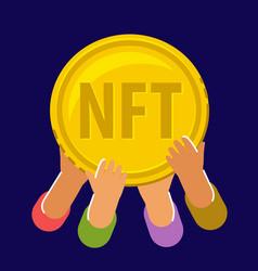 gold coin nft non fungible token business modern vector image