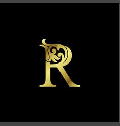 Gold luxury letter r ornament logo alphabet vector