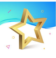 golden 3d star isolated object medal decoration vector image