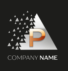 golden letter p logo in silver pixel triangle vector image
