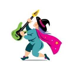 Halloween Witch with rock guitar Cartoon vector