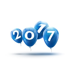 Happy New Year 2017 blue balloons design Greeting vector image
