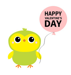 happy valentines day parrot bird toy icon holding vector image