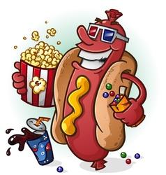 Hot dog at movies cartoon character vector