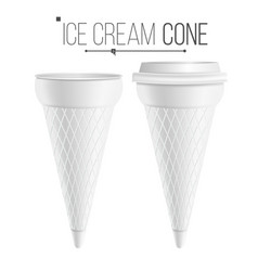 ice cream cone template for dessert vector image