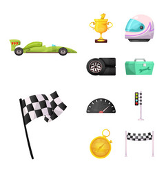 isolated object of car and rally icon collection vector image