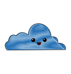 kawaii cloud computing data information vector image