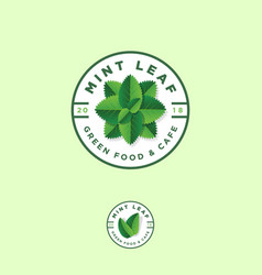 mint leaf logos green food grocery store emblem vector image