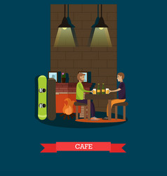 mountain cafe in flat style vector image