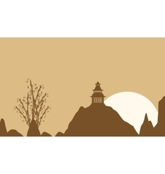 On brown background pavilion landscape vector