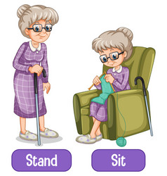 Opposite words with stand and sit vector