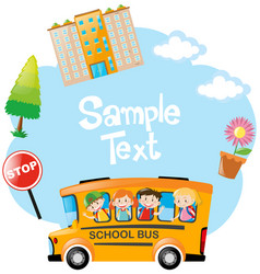 paper template with children riding on bus vector image