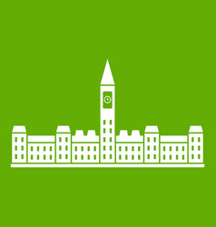 Parliament building of canada icon green vector