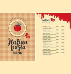 pasta menu for italian restaurant with price list vector image