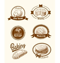 Pastry and bread labels vector