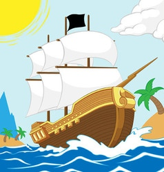 Pirate ship on shore square frame vector