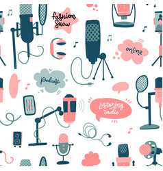 Podcast flat hand drawn doodle elements seamless vector