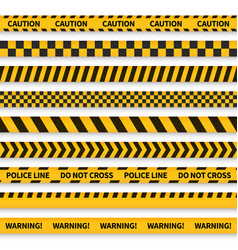Police tape yellow taped barricade warning danger vector