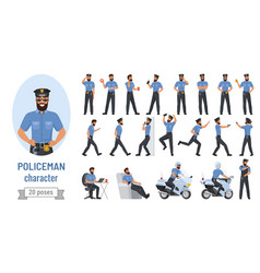 policeman poses cartoon set bearded professional vector image