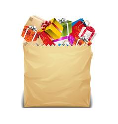 presents in paper bag vector image