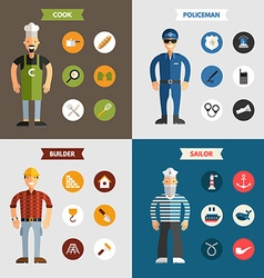 Profession people builder cook policeman sailor vector