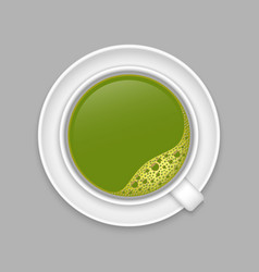 realistic matcha cup top view vector image