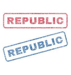 republic textile stamps vector image