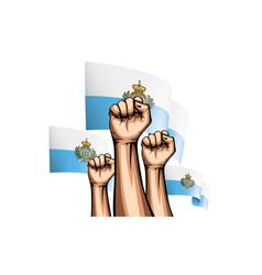 San marino flag and hand on white background vector