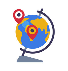 school globe destination points geography lesson vector image