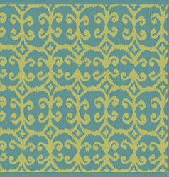 seamless ikat pattern with yellow and blue vector image