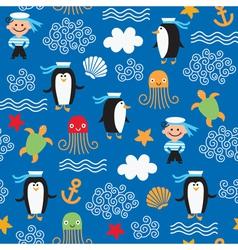 Seamless marine theme vector