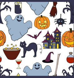 seamless pattern with hand drawn halloween element vector image