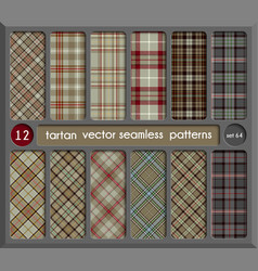 Set in beige tartan seamless pattern background vector