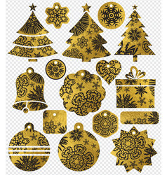 set of color golden glittering christmas labels vector image